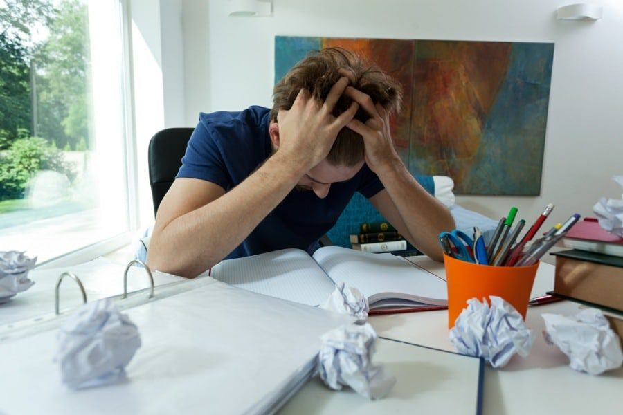 test nerves counselling wolverhampton - student stressing over exam