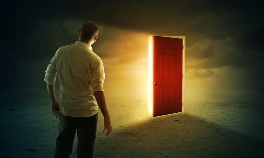 metaphor for inner strength and resilience - red door in the mind
