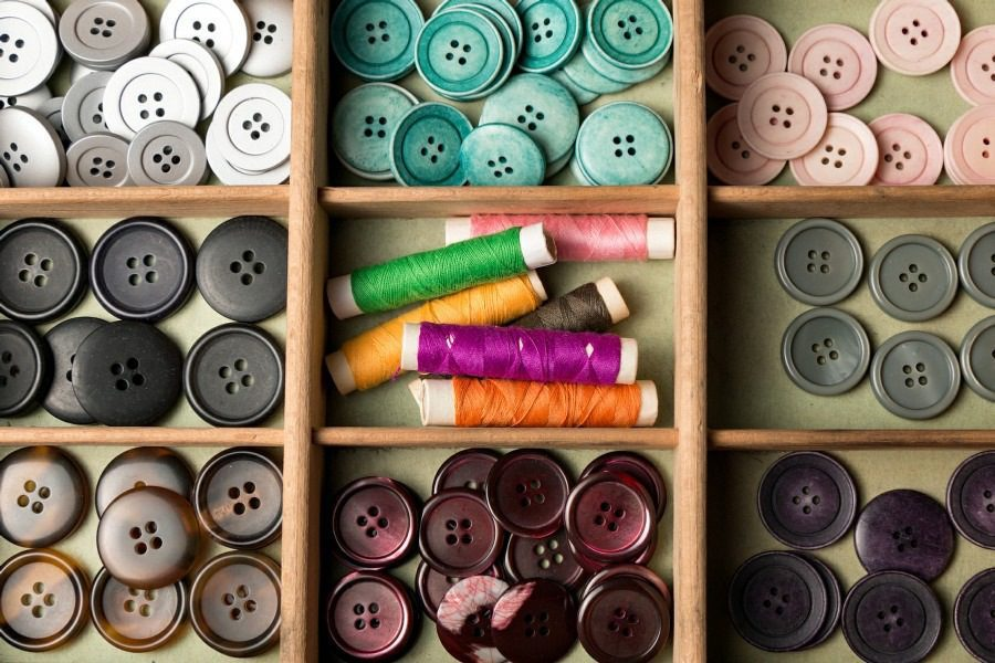Fear of Buttons Koumpounophobia - Tray full of colourful buttons