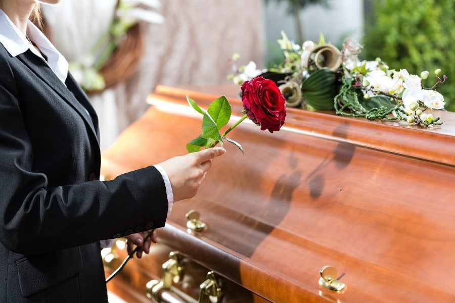 Necrophobia Fear of Death or Dead Bodies - Image of Coffin with Mourner Placing Flower