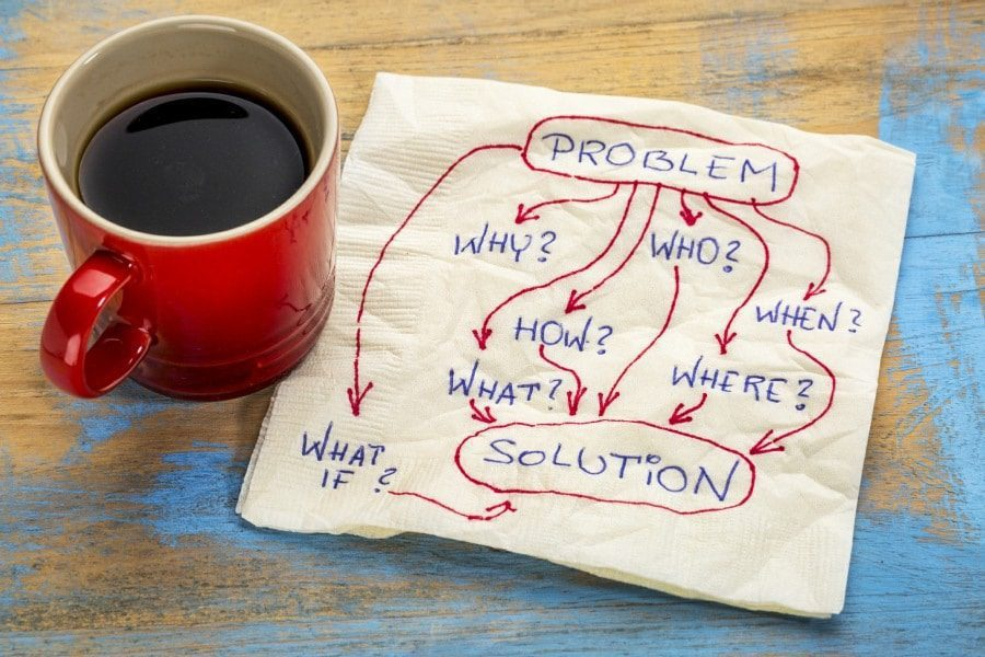 Therapy for Fear of Technology - Coffee Cup Next To Napkin with Problem Analysis