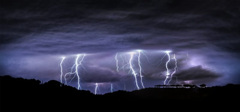 astraphobia is the fear of thunder and lightning - electrical storm at night