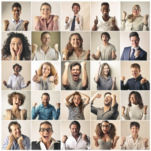 personal development psychology - montage of happy people