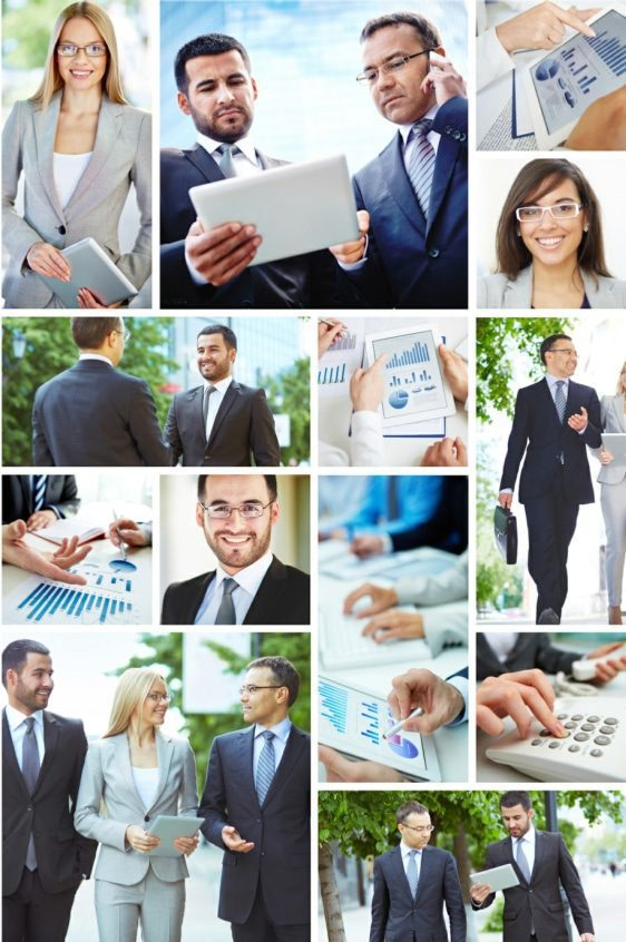 business psychology - collage of business people