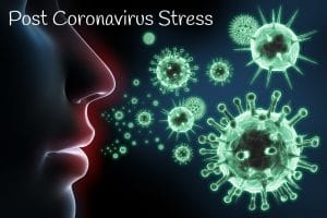 Mental health counselling for post coronavirus stress - Airborne virus next to face